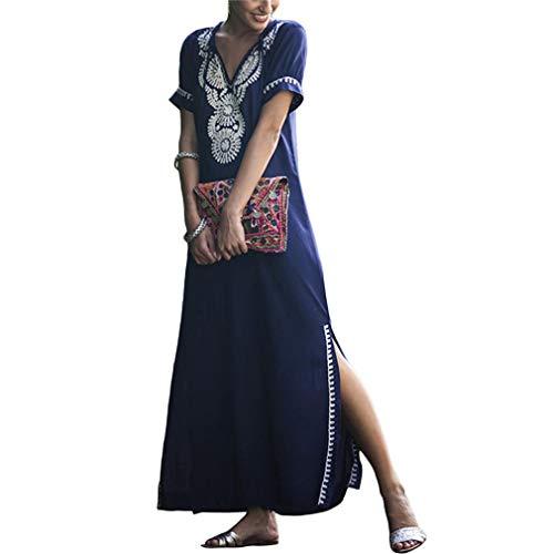 Ai.Moichien Femmes Manches Courtes brodé Robe de Vacances Bikini Blouse Robe Bleu Taille Unique