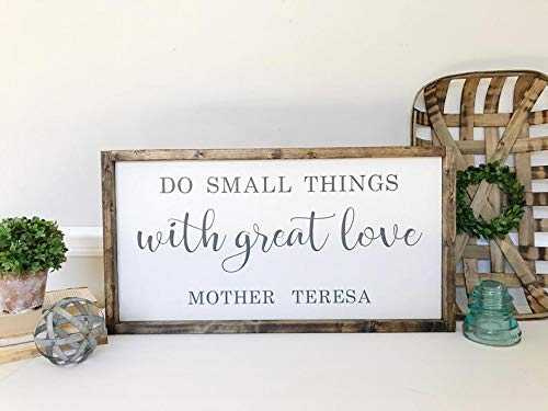 SIGNS Do Small Things With Great Love - Divertida cita de Madre Teresa - Inspirational Funny Religious Decor