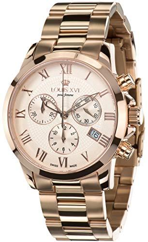 LOUIS XVI Damen-Armbanduhr Athos Pour Femme Stahlband Rosegold Rosegold Chronograph Analog Quarz Edelstahl 410