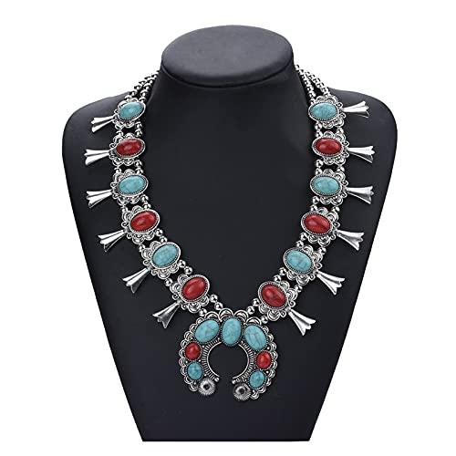ZCPCS 2021 Indio Plateado Cadena Squash Flor Collares Étnico Bohemia Tribal Big Chunky Declaración Colgante para Mujer Moon Maxi Jewelry (Metal Color : 15)