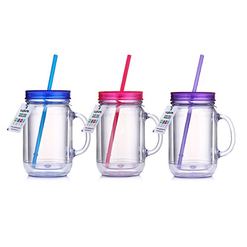 Cupture mason tumbler cup with handle and lid, 20 oz