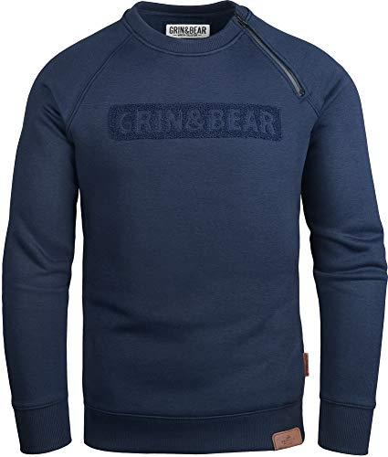 Grin&Bear Herren Crew Neck mit Design Rubber Zip Navy M GEC541