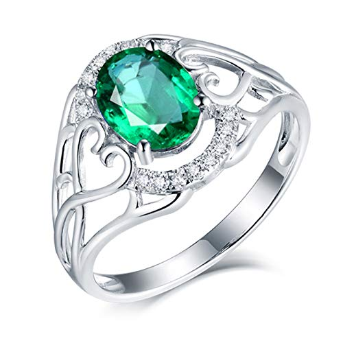 Aimsie Gold Ring, Hollow Heart 4 Prong 1.16 Carat Oval Cut Emerald with 0.16 Carat Diamond Wedding Ring Woman Gold Ring 750 Men's 18K Au750 White Gold Wedding Rings Wedding Ring White Gold