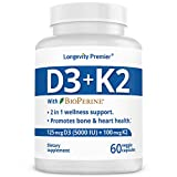 Longevity Vitamin D3+K2 up to 10000 IU D3 Daily & 200 mcg k2 with BioPerine