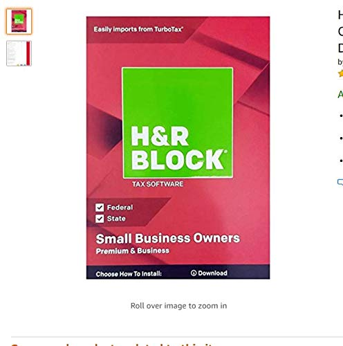 H&R Block Tax Software Premium & Business 2019_Small Business Owner | 5 Fed E-File + State + Activation Code| PC D0WNL0AD: NO DISC