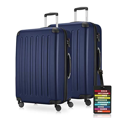 HAUPTSTADTKOFFER - Spree - Koffer-Set 2 x Großer Hartschalenkoffer Rollkoffer 75 cm, 119 Liter + Kofferanhänger, erweiterbarer Reisekoffer, 4 Rollen, TSA,...