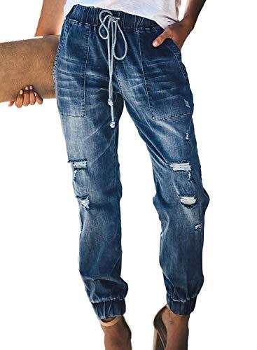 Uusollecy Damen Boyfriend Lochjeans Elastischer Kordelzug Die Stylische Ripped Jeans Taschen Hoher Taille Gerades Hosen,Dunkelblau, M