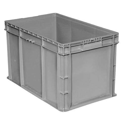 Buckhorn SW241514F101000 Plastic Straight Wall Storage Container Tote, (24-Inch x 15-Inch x 14-1/2-Inch), Light Gray
