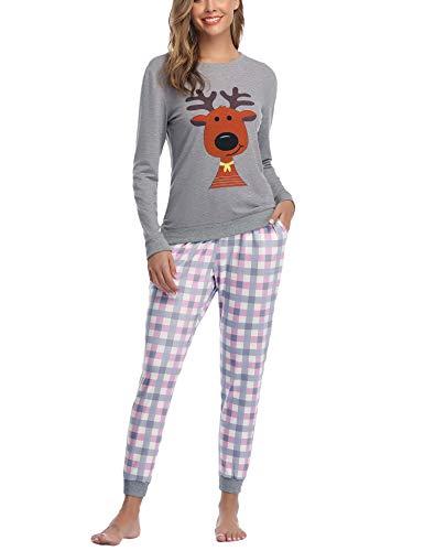 Aibrou Damen Pyjama Schlafanzug Lang Zweiteilige Nachtwäsche Hausanzug Sleepwear aus Baumwolle Langarm Rundhalsausschnitt mit Karierte Hose Grau XL