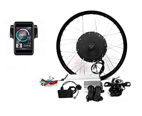 "theebikemotor 3000W Hub Motor Electric Bike Conversion Kit Elektro-Fahrrad Umbausatz + LCD or TFT Display + Disc Brake Rear Wheel (21"" Motorcycle Wheel + Single Speed Gear, 60V3000W + TFT Display)"