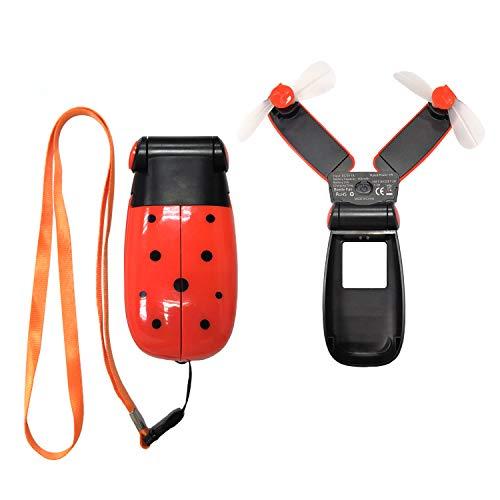 Ventilador de Mano Plegable Ventilador de Bolsillo Plegable Doble Cabeza,Ventilador USB Portátil de 2 Velocidad con Batería Recargable Mini Hand Fan para Ejercicio