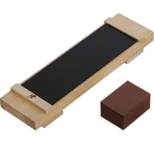 MIYABI 34536-000 - Kit de Afilado básico para Piedras con Soporte de Madera 230x70x35 milímetros