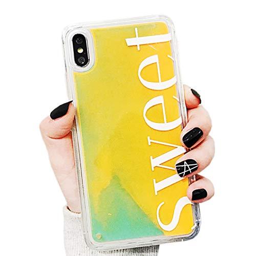 SGVAHY Capa fluorescente para iPhone XR, luxuosa capa traseira de policarbonato rígido de areia rápida e brilho luminoso de luxo + capa protetora macia de TPU à prova de choque para iPhone XR, iPhone XR, Sweet