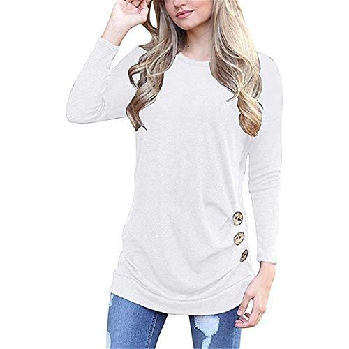 T-Shirt Damen Oberteile Damen Elegant Rundhals Locker Bequem Mode Temperament Damen Tops Herbst Neues Knopfdekoration Langarm Stretchstoff Damen Bluse E-White S