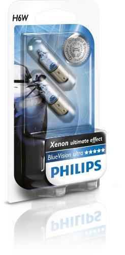 Philips 12036 BlueVision - Bombilla H6W para luces traseras (2 unidades, 12 V, 6 W, BAX9s)