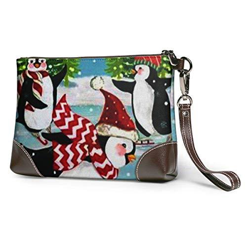 Ahdyr Natale pattinaggio sul ghiaccio pinguino in pelle pochette da polso pochette con cerniera borse borse per le donne portafogli del telefono con slot per schede della cinghia