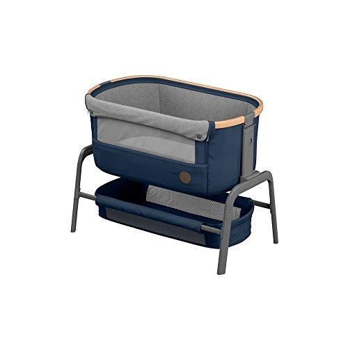 Maxi-Cosi Iora Beistellbett, hochwertiges, höhenverstellbares Babybett, nutzbar ab der Geburt bis max. 9 kg, Inkl. Matratze und Tasche, kompakt faltbar, passt neben fast jedes Bett, essential blue