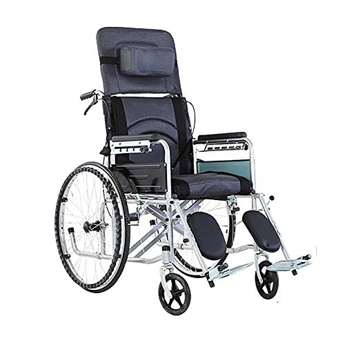 Lightweight Foldable Tilt in Space Space Reclining Transport Wheelchair, Swing-Away Foot Rest 18 Inches Seat Width, Adjustable 90X30x120cm, Black