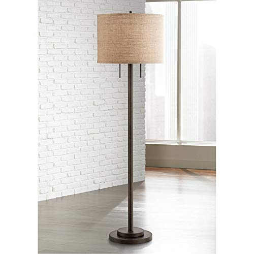 Garth Modern Contemporary Tall Standing Floor Lamp Oil Rubbed Bronze Burlap Fabric Drum Shade Decor for Living Room Reading House Bedroom Home Office - Possini Euro Design