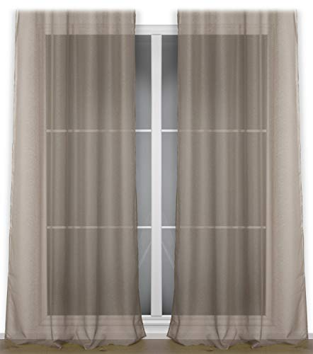 BEAUTEX Vorhang mit Kräuselband oder Ösen, transparente Gardine Dolly, Farbe und Größe wählbar (Kräuselband - Breite 290 cm - Höhe 250 cm - 1 Stück - Taupe)