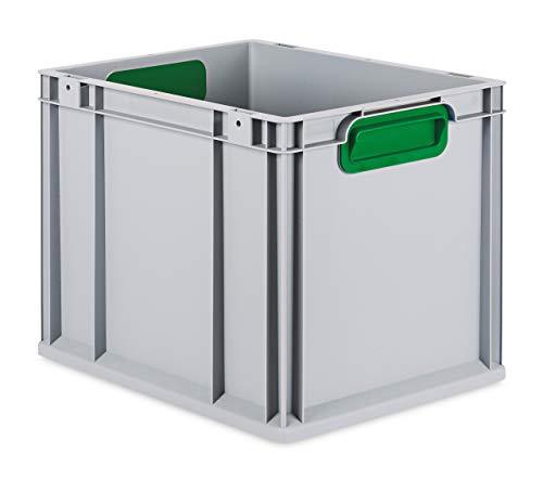 aidB Eurobox NextGen Color grün, 400x300x320 mm, Griffe geschlossen, robuste Plastikbox aus Kunststoff mit ergonomischen Griffen, stapelbare Kunststoffkiste, ideal für die Industrie