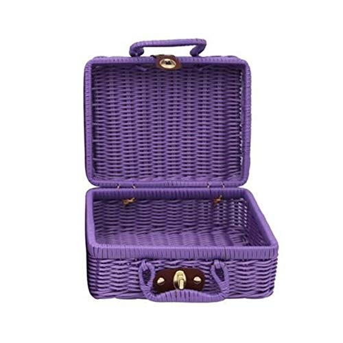 Vintage Portable Handmade Rattan Woven Storage Case Makeup Travel Picnic Luggage Basket Holder Suitcase Sundries Organizer Box (Color : Purple S)