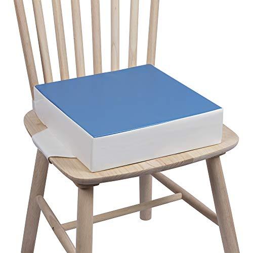 SitzerhöhungStuhlKind Kalawen 32 x 32 x 8 cm Sitzkissen Kinder für Baby PU Waschbar Tragbare Sitzerhöhung mit 2 Sicherheitsschnalle Gurte Kindersitzkissen Blau