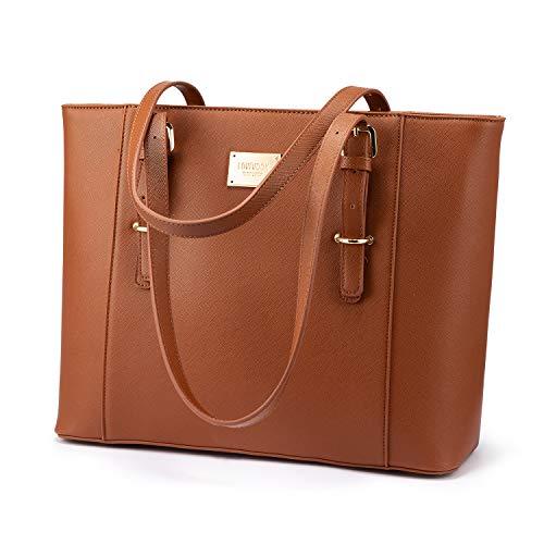LOVEVOOK Laptop Handtasche Damen 15.6 Zoll Braun, Groß Elegant Business Laptoptasche Aktentasche Arbeitstasche Shopper Bag, PU Leder, für Büro Hochschule Reisen