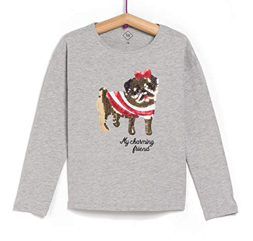 TEX - Camiseta de Algodón para Niña, Manga Larga, Cuello Redondo, Estampada con Lentejuelas o Purpurina, Gris Claro, 2 a 3 años