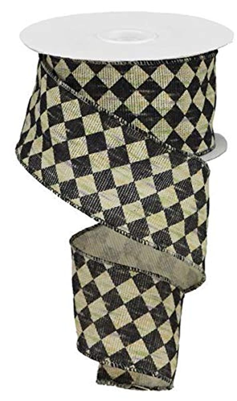 Antique Diamond Check Wired Edge Ribbon, 10 Yards (Black, Natural, 2.5