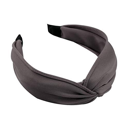 YUnnuopromi Damen-Haarreif, süßes Stoff-Stirnband, breit, einfarbig, plissiert, Haar-Accessoires, Kaffee