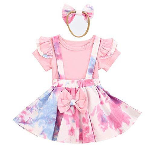 Mode Tie Dye Säugling Baby Mädchen Kleidung Sets Kinder Farbblock Kleider 3 Stück Outfit Fliegenhülse Rüsche T Shirt Oberteil + Colorblock Hosenträger Rock + Bogenstirnband Mädchen Sommerkleid