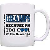 Regalo del día del padre para los abuelos Demasiado genial para ser un abuelo Gafas de sol Regalo Taza de café Taza de té Blanco