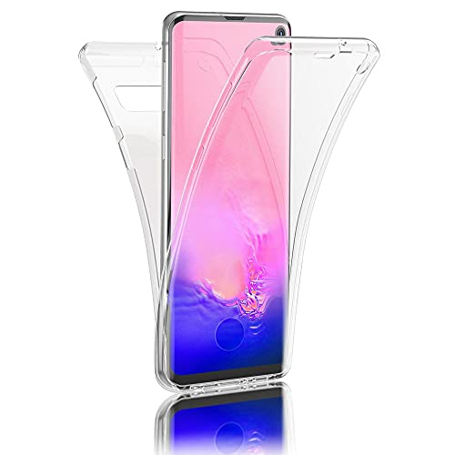 Kaliroo 360° Schutzhülle Klar kompatibel mit Samsung Galaxy S10 Hülle, Transparente Silikon R&um Handyhülle Full-Body Hülle Slim Cover, Dünne Handy-Tasche Phone Etui Vorne und Hinten Komplett-Schutz