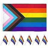 Bandera Arcoiris,7 Piezas Banderas Orgullo Gay,Gay Pride Flag,Bandera de Arco Iris,Bandera Gay Balcón,Pride Flag,Bandera LGBT Grande,para Bandera Festivales Procesión Jardín Exterior 90*150cm