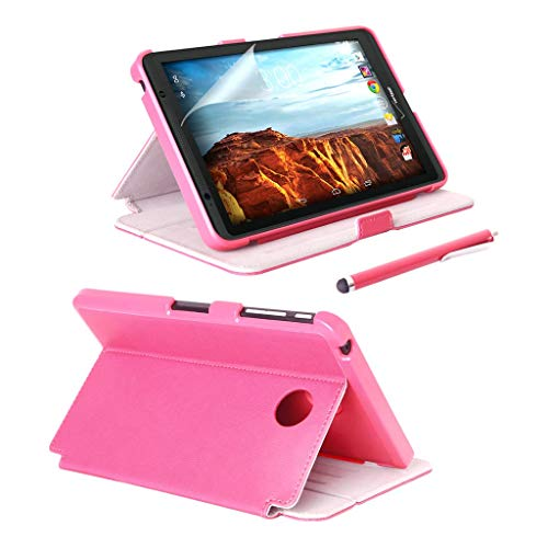 Verizon Ellipsis 8 Folio Case with Stylus and Screen Protector - Slim Cover Defender with Smart Folding Stand - Ellipsis 8 Case - Pink