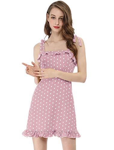 Allegra K Women's Polka Dots Spaghetti Strap Summer Ruffle Flare Mini Slip Dress S Pink