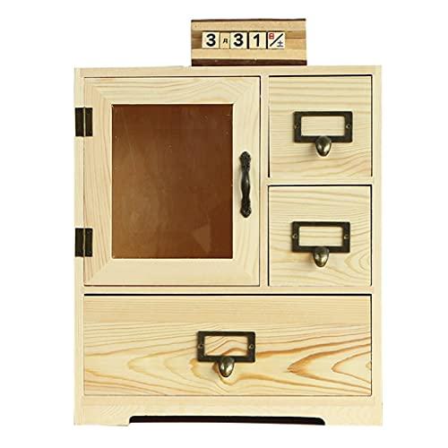 Schmuckkästen Kreative Schreibtisch Aufbewahrungsbox Massivholz Aufbewahrungsschrank Holz Schreibtisch Schublade Aufbewahrungsbox Schlafzimmer Küchenregal (Color : Wood Color, Size : 30×20×35cm)