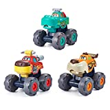 HOLA Monster Trucks Toys for Boys, Pull Back Car Vehicles for Toddlers, Friction Powered Wild Animal...