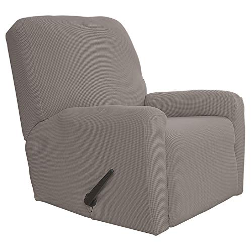 Easy-Going Recliner Stretch Sofa Slipcover Sofa Cover 4-Pieces Furniture Protector Couch Soft with Elastic Bottom Kids, Spandex Jacquard Fabric Small Checks(Recliner,Taupe)
