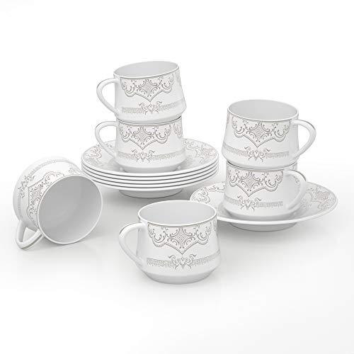 ADDTREE Rural Series Juego de 6 tazas de té con diseño de cerámica de 120 ml, juego de tazas de té para mujer, para el hogar y la oficina