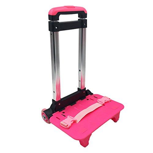 GudeHome Trolley Alu Gepäckwagen Handwagen Sackkarre Klappbar Rollen-Einkaufswagen für Kinder Schulrucksack Rucksack Rosa