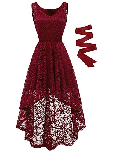BeryLove Damen Spitzen Vokuhila Cocktailkleid V Ausschnitt Ärmellos Elegant Brautjungfernkleid Partykleid BLP7018DarkRedXL