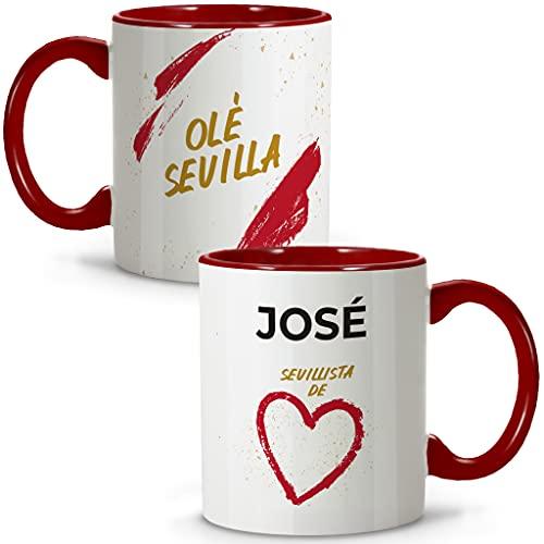 LolaPix Taza Sevilla. Tazas Personalizadas con Nombre. Taza Desayuno fútbol. Regalos Personalizados. Varios diseños.