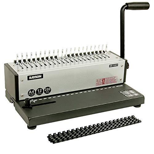 Rayson SD-1201 Plastikbindegerät Stanzkapazität 12 Blatt, Bindekapazität 200 Blatt, Metallkonstruktion