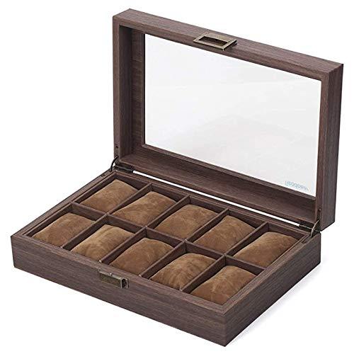 Guarda la scatola di immagazzinaggio in pelle PU in legno di grano e cristallo reale con 10 griglie al quarzo da polso a...