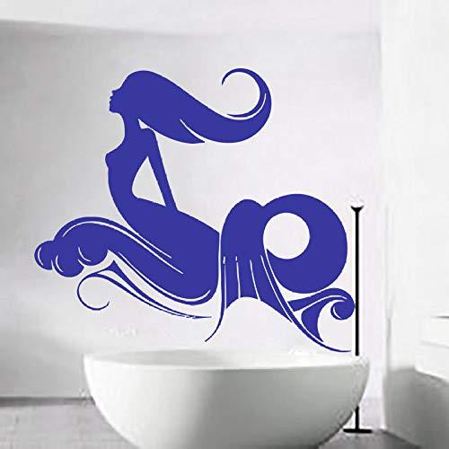 YuanMinglu Nymphe Meerjungfrau Wandapplikation Bad Fensterbild Künstler mit Wandsticker selbstklebend Mädchenzimmer Mode Muster schwarz 42x66cm