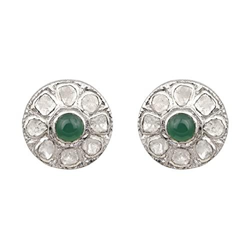 Shine Jewel Polki Diamond Green Onyx - Pendientes de plata de ley 925 chapada en platino, hechos a mano, regalo para mujeres