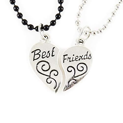 AKIEE Colgante Collar Best Friends Forever BFF Mejores Amigos Amistad Plateado y Negro (Plata y Negro)