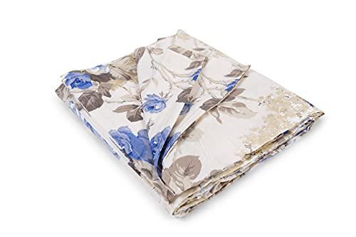 HomeLife Colcha decorativa para sofá con elegante estampado floral de rosas azules, fabricada en Italia, multiusos, de algodón, para cama individual (160 x 280 cm), color azul